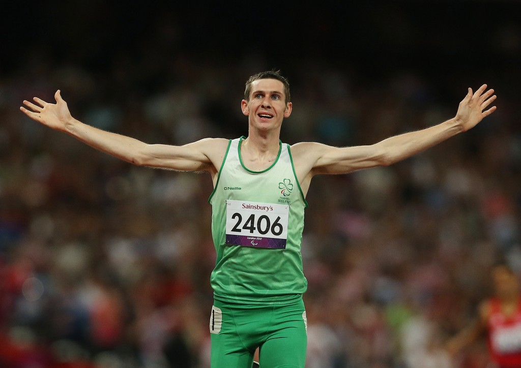 Michael McKillop celebrates ater securing gold in the 1500M final at the 2012 Paralympic Games in the Olympic Stadium, London. The middle distance runner has stared in a new 'More Than Sport' ad campaign for Paralympics Ireland         PLEASE NOTE: FOR EDITORIAL USE ONLY