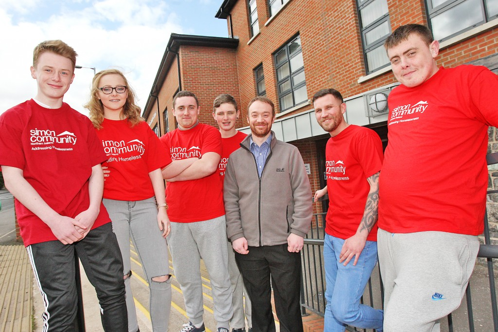 Sean Flanagan, Demi Henry, Liam Flynn, Brandon McAree, Kelan McCelland (Simon Community NI Head of Service, Homelessness Prevention), Robert Sands (Glen Community Complex Youth Worker) and Darren Cardwell