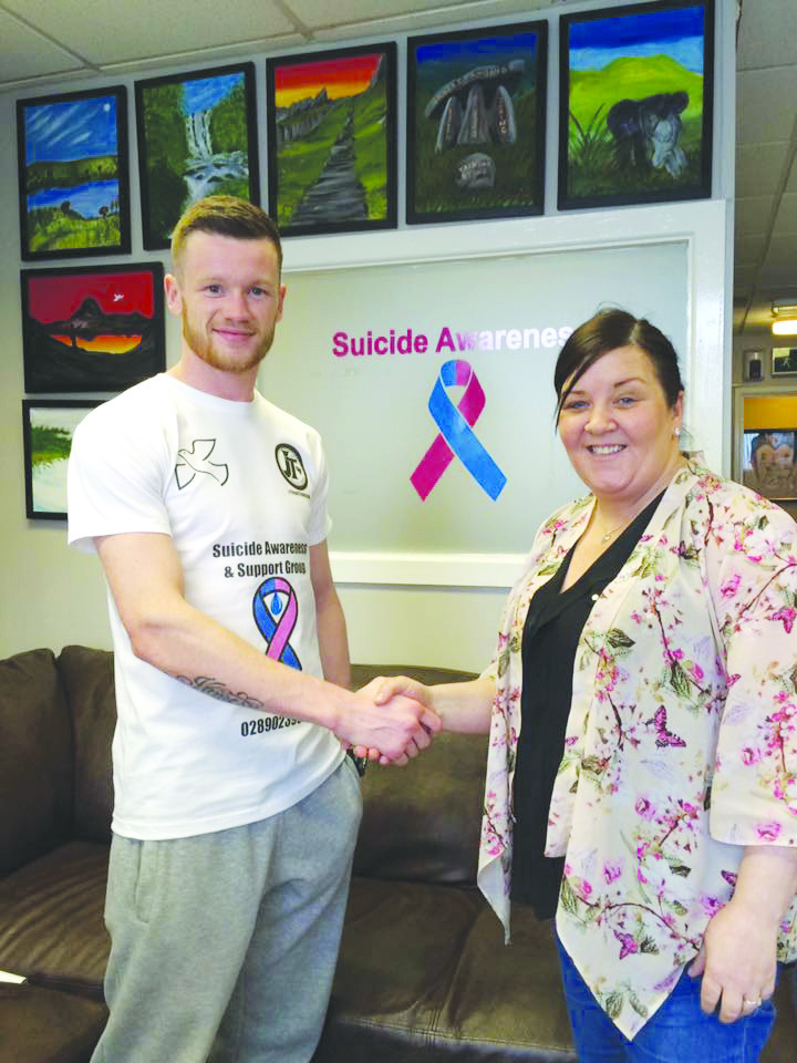 James Tennyson with  the manager of Suicide Awareness and Support Group of Belfast, Margaret Walker