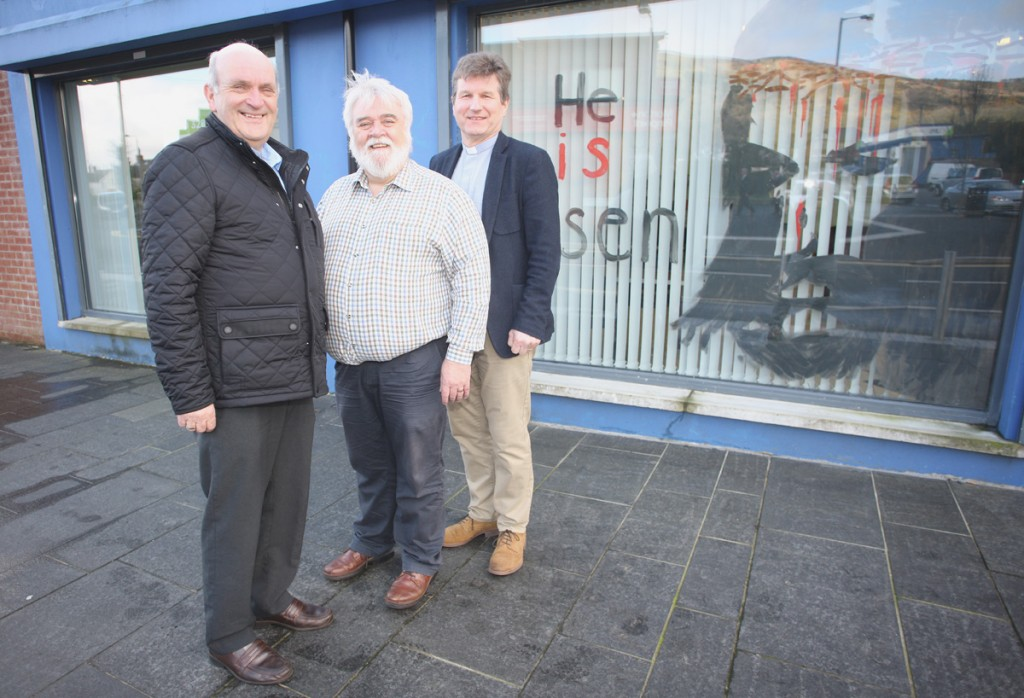 Rev Colin Morrison with Trevor Long and Rev Philip McCrea at the  Job Club on the Cavehill Road