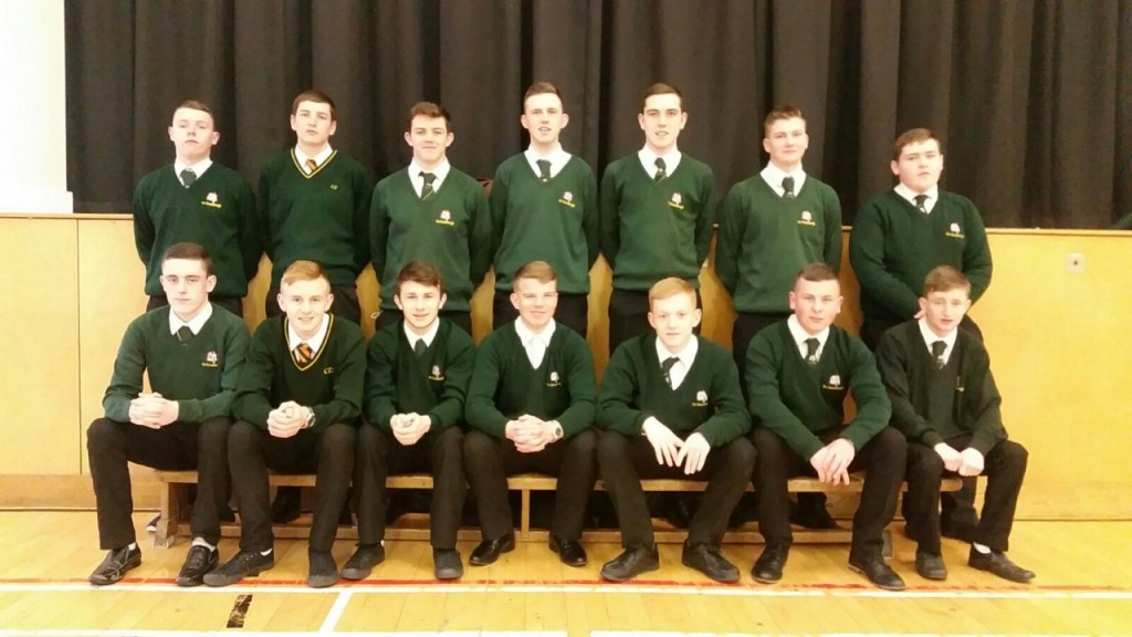 The Coláiste Feirste Year 14 team who will play in the Roger Casement Shield final on Friday .
