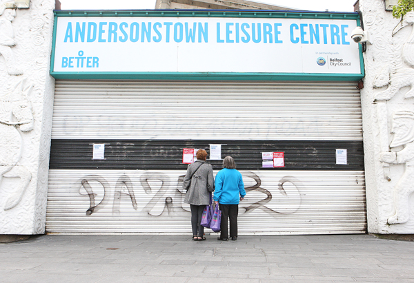 The shutters are down at Andersonstown Leisure Centre today as strike action gets under way.