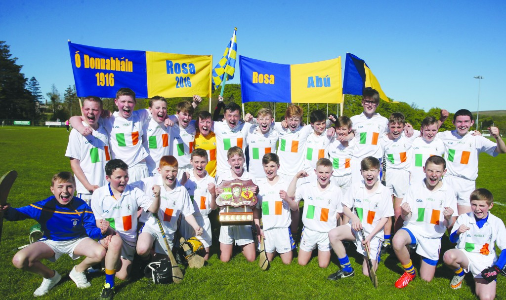 The Rossa team with the Antrim Feile hurling trophy following thier win over Loughgiel on Saturday