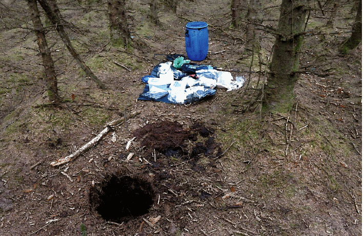 The large find was discovered buried in a plastic barrel