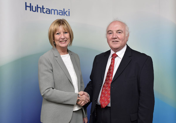 Rosemary Mason, Managing Director Huhtamaki Foodservice Western Europe and UK, and Terry Cross, founder of Delta Print and Packaging