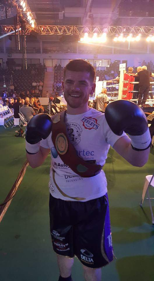 Belfast's Paddy Gallagher poses with his Celtic welterweight title following last Saturday's first round knockout win against Tony Dixon in Cardiff