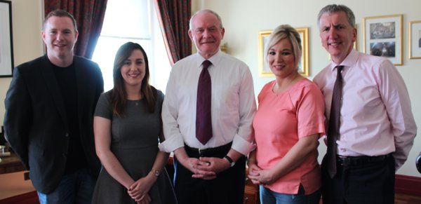 Martin McGuinness with his new SF ministerial colleagues Chris Hazzard, Megan Fearon, Michelle O'Neill and Máirtín Ó Muilleoir