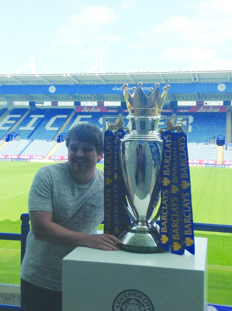 Former La Salle pupil and Lámh Dhearg player Terrence O'Hara is pictured with the English Premier League trophy having been part of Leicester City's success this season having been employed as an analyst with the champions