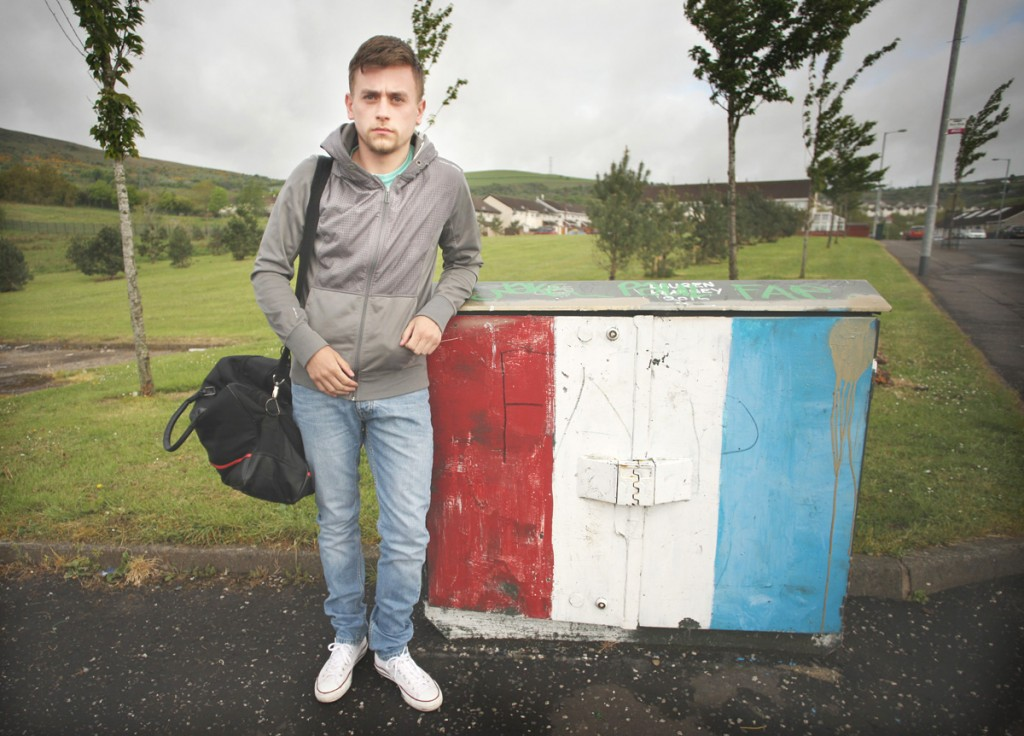 Thomas McCormack in Forthriver Road – he was forced to flee the district after sectarian graffiti was daubed on wall of his new North Belfast home.
