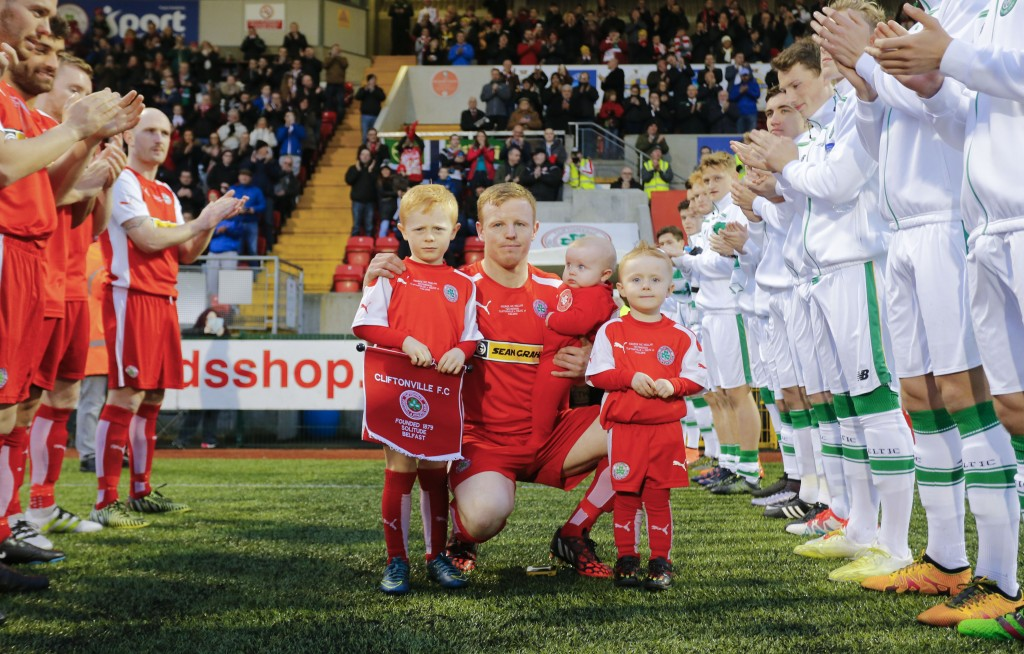 Cliftonville's George McMullan pictured before his testimonial game against Celtic at Solitude last month. The Reds legend announced his retirement from the game last week and says the 'the time is right' to bow out
