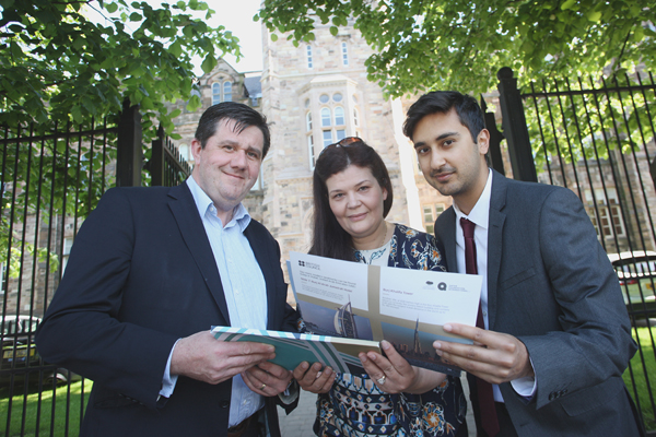 Paul Porter, Rym Akhonzada and Faraan Sayed at Belfast Royal Academy
