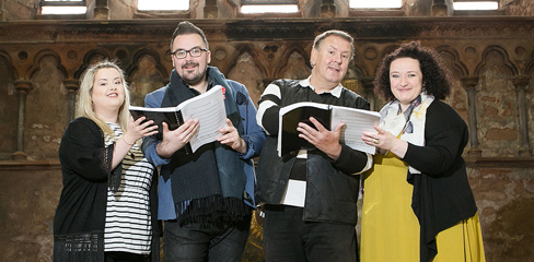 Internationally-renowned opera singer and lead cast member Bruno Caproni (second right) is joined by cast members Rebecca Rodgers, soprano (left), Bríd Ní Ghruagáin, mezzo-soprano, and award-winning tenor Ross Scanlon for rehearsals at Carlisle Memorial