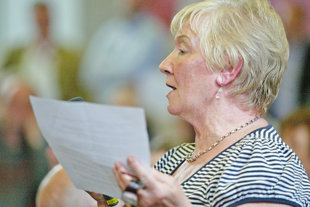 Margaret Doherty speaks about Fallswater Day Centre during Tuesday's meeting