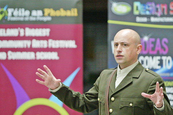 : Actor Tony Devlin performs a piece from Belfast Rising during the launch of the Féile an Phobail programme