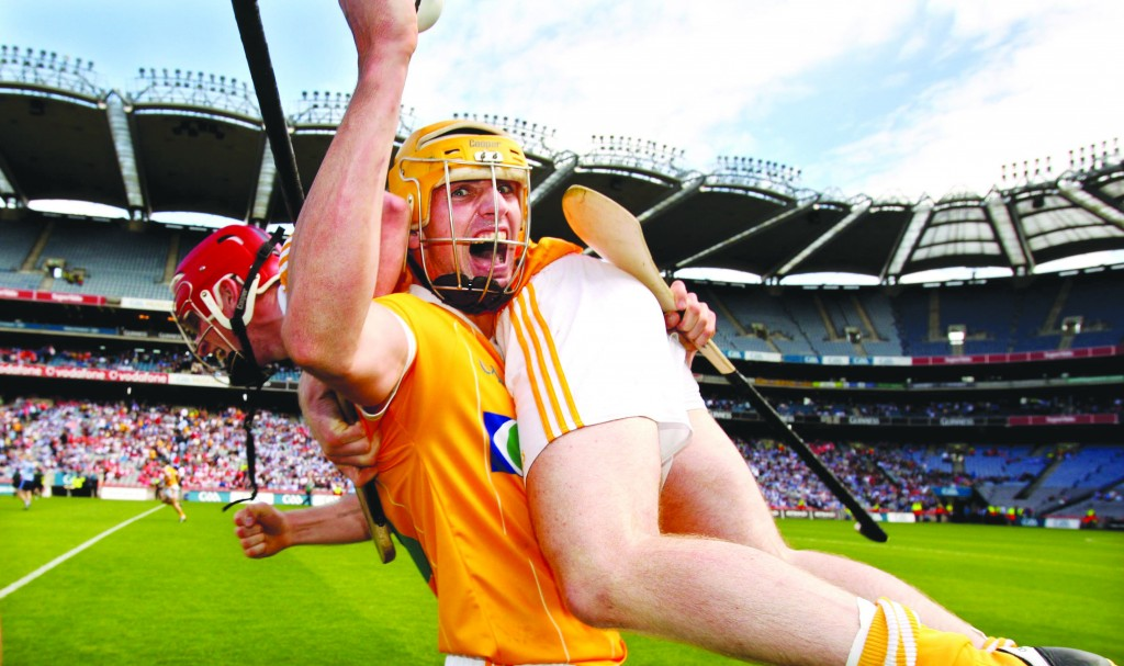 Antrim's Simon McCrory celebrates the 2010 Qualifier win over Dublin by lifting PJ O'Connell at the final whistle. The Saffrons return to Croke Park for Saturday's Christy Ring Cup final against Meath