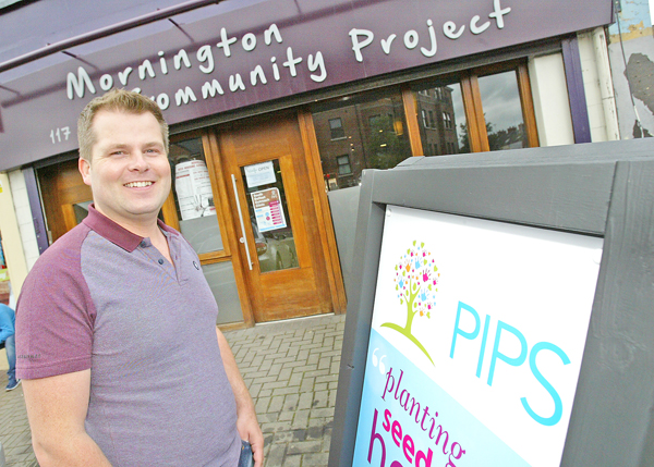 Brian Maguire outside the new PIPS offices at the Mornington Community Project building on the Ormeau Road. 1176mj16