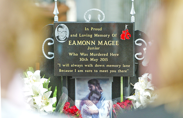 A plaque recently unveiled at the spot where Eamonn Magee Jnr died