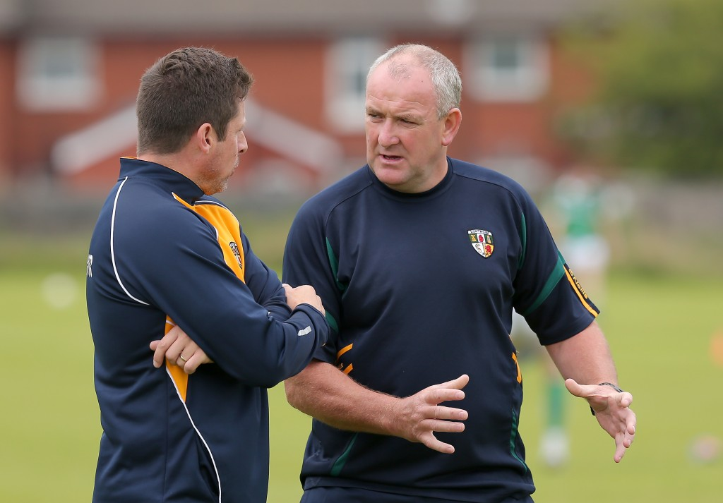 Antrim's managers Gearoid Adams and Frank Fitzsimmons are hoping to continue on for 2017 despite the Saffrons bowing out of the Championship at the hands of Limerick last weekend