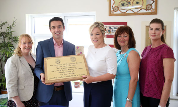 Nora Curran, Clinical Director of Our Lady's Care Home; Gavin O'Hare-Connolly, CEO of Our Lady's; Health Minister Michelle O'Neill; Dr Patricia McClure from the Ulster University; and Anne-Colette McLaughlin, OT Clinical Manager