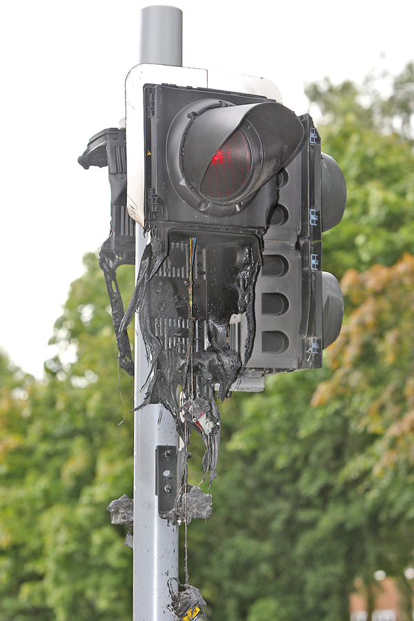 The damage caused to the traffic lights