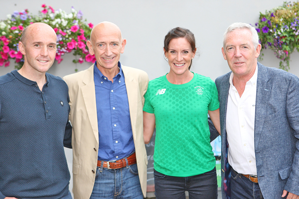 Breege Connolly with her running partner, Peter Cassidy (left) and coaches, Paul Elliott and Martin Dean.