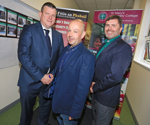 At the event in St Mary's University College – 'Lessons from the  Loughinisland Massacre' – are solicitor Niall Murphy, journalist Barry McCaffrey and Mark Thompson (RFJ)