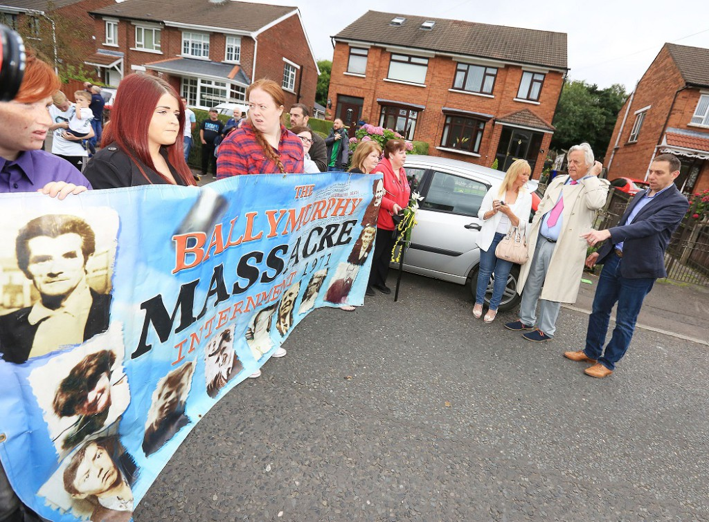 DISTINGUISHED: Michael Mansfield, second right, at the Ballymurphy March for Truth on Sunday