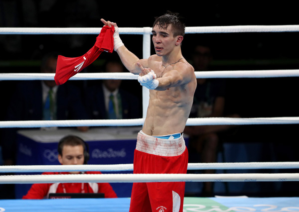 : Michael Conlan makes his feelings clear after the referee raised Vladimir Nikitin's hand