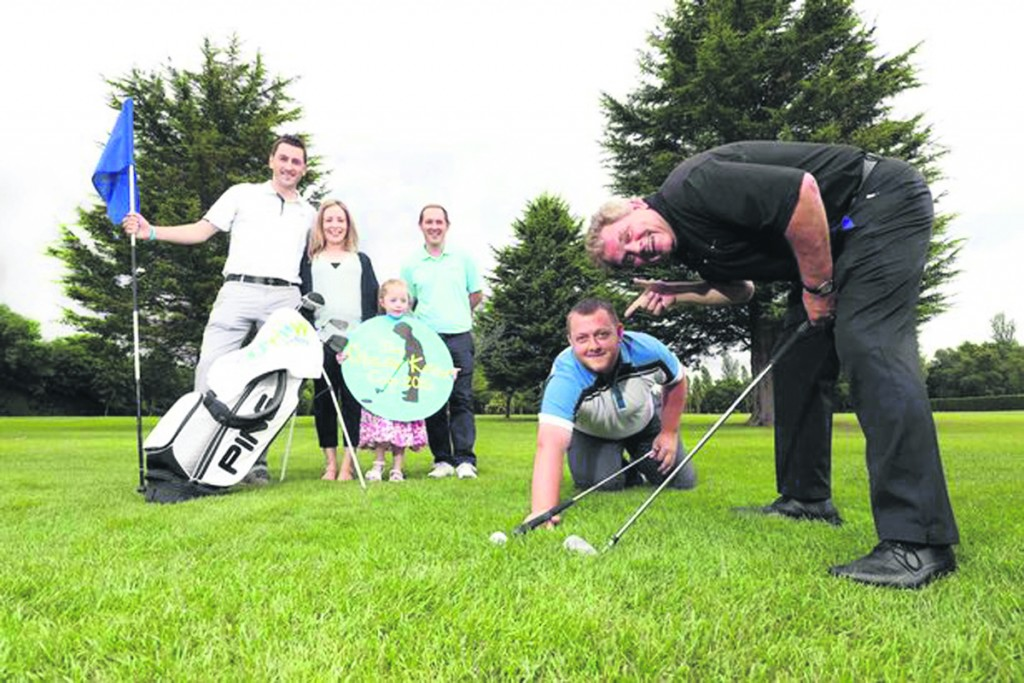 Stephen Knox, Leona Knox, Isobella Knox, Andrew Hollywood of GolfNow, snooker player Mark Allen and local personality Adrian Logan at the launch of the Oscar Knox Cup