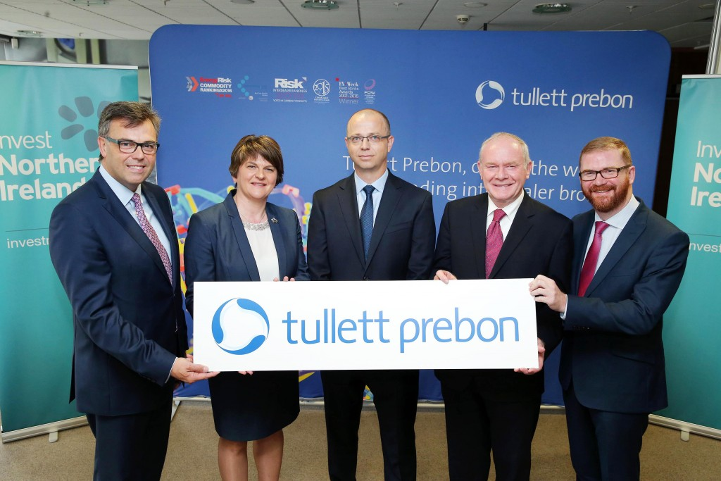 PHOTOCALL: Invest NI CEO Alastair Hamilton, First Minister Arlene Foster, Tullett Prebo Group CIO Luke Barnett, deputy First Minister Martin McGuinness  and Economy Minister Simon Hamilton at the jobs announcement