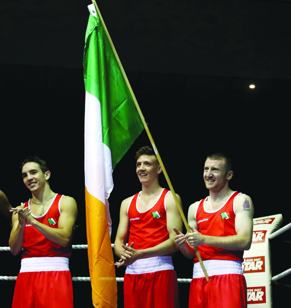 Paddy Barnes with Irish teammates and fellow Belfast boxers, Michael Conlan and Brendan Irvine at a recent international in Dublin ©INPHO/Ryan Byrne