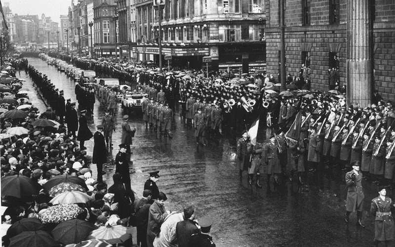 TRIBUTE: Crowds line the streets of Dublin for the funeral of Roger Casement; British Prime Minister Harold Wilson authorised the return, but specified that Casement was not to be buried in the north