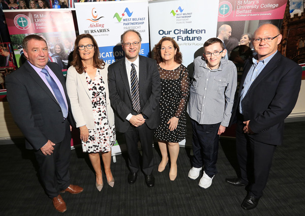 COMMITMENT: Chair of the West Belfast Partnership Board Gerry McConville, Gabrielle Nig Uidhir (St Mary's University College), Peter Weir (Education Minister), Geraldine McAteer (WBPB CEO), David Fitzsimons (Ace Taxis Aisling Bursary) and Paul Maskey MP