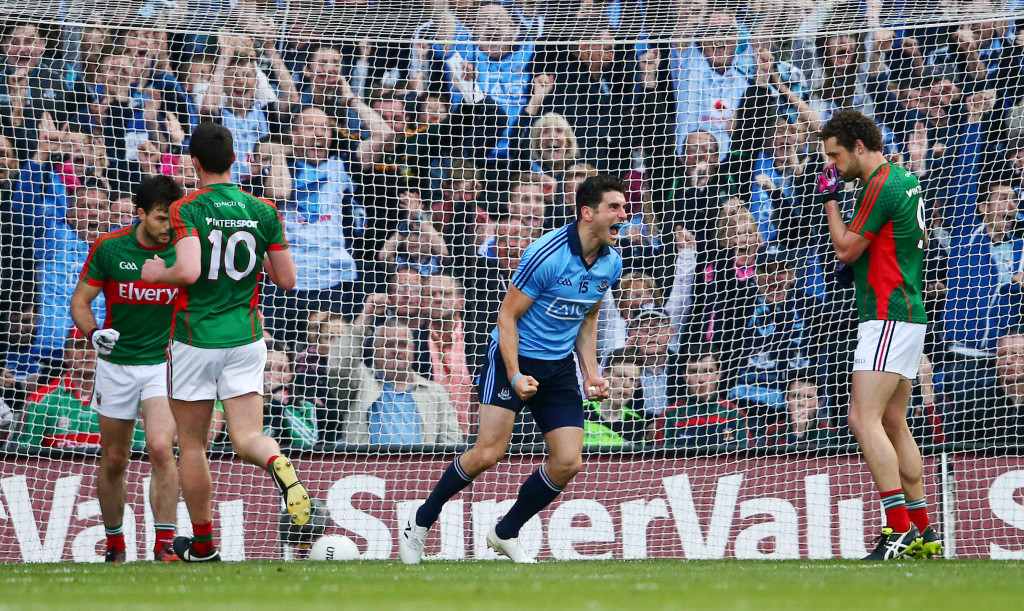FIRST GOAL:  Bernard Brogan celebrates after scoring a goal against Mayo in last year's semi-final replay. We fancy the Dublin ace to strike for the first goal in the All-Ireland football final on Sunday at 13/2.