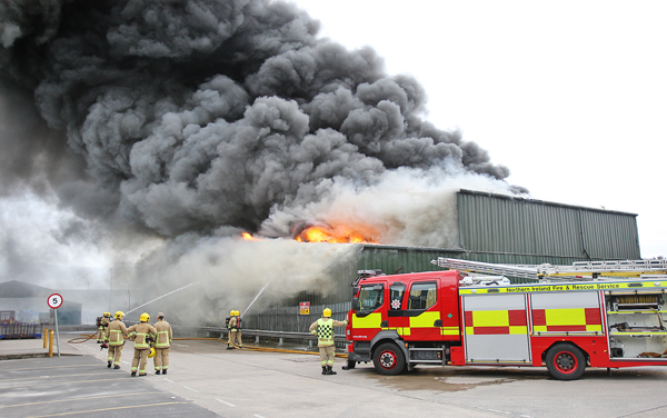 Fire crews tackle the major fire at Wastebeater Recycling on Blackstaff Road, Kennedy Way