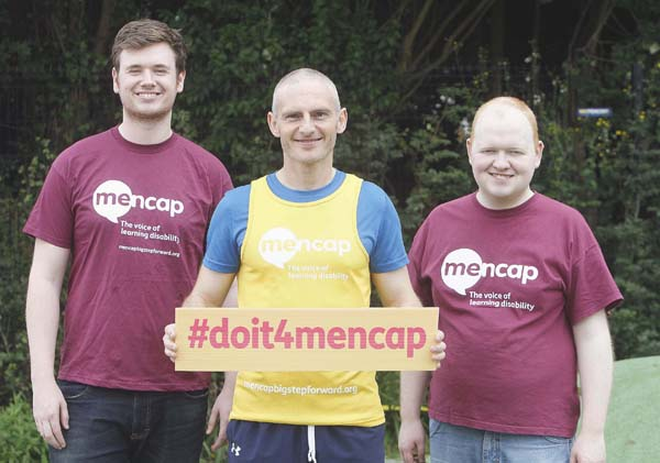 Jonathan Hanna, left, Mencap; Neil Mercer, who is running the Deep RiverRock Belfast City Half Marathon for Mencap; and Gary Clements, a Mencap Young Ambassador