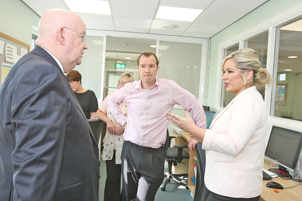 Health Minister Michelle O'Neill visiting Coopers Pharmacy in Andersonstown along with Riverdale and Willow General Practice Surgeries.  Dr George O'Neill and Dr Barry Kelly meet with Health Minister Michelle O'Neill.