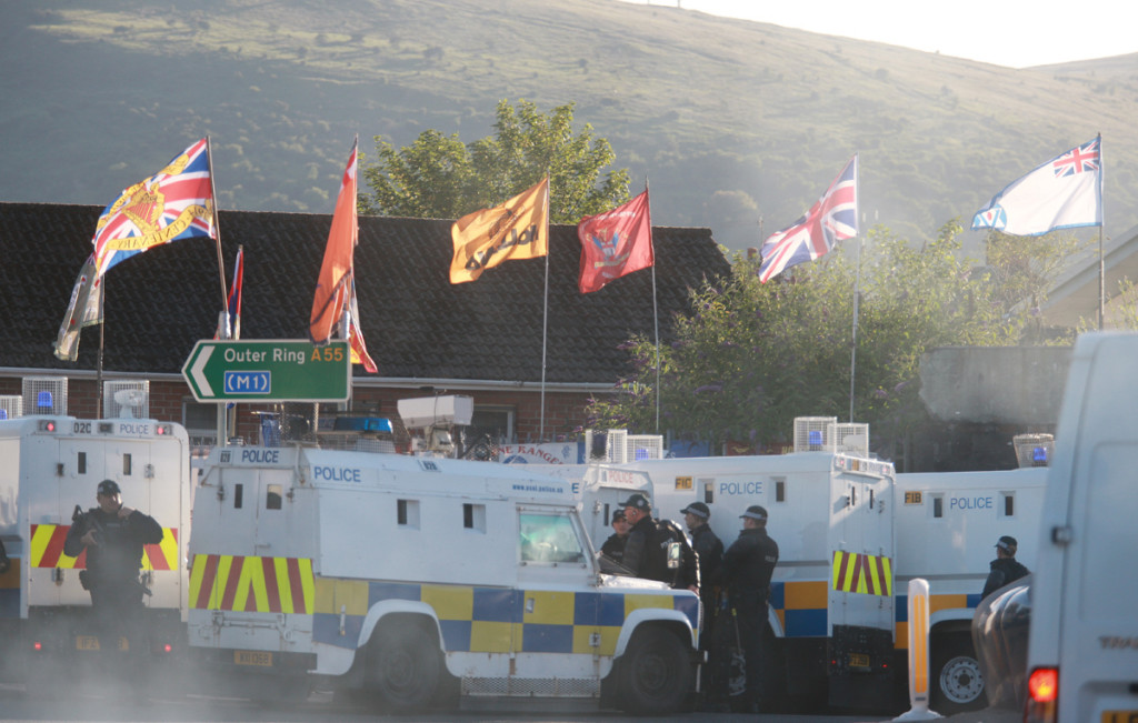 PSNI hold back the nightly protest at camp Twaddell