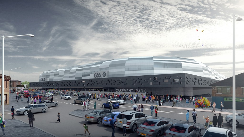 A view of the proposed new stadium from the Andersonstown Road