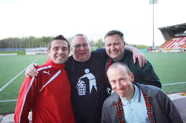 Organisers Cormac O'Hanlon, Gareth McKenna and Dominic McKenna with Reds legend Chris Scannell