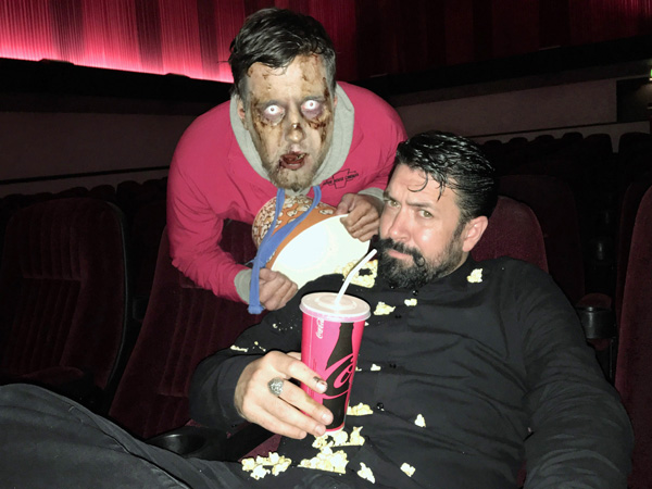 FRIGHT NIGHT: Hollywood make up artist Brian Kinney with newly-created zombie Gareth Geoghagan-Doughty at Movie House Dublin Road