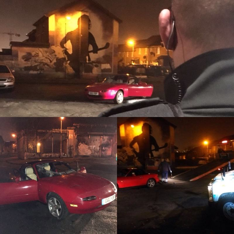 Police seized thIs vehicle after they were attacked by a crowd in the Divis area on Saturday night