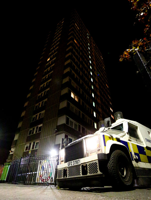 Police officers at the scene of a suspicious death in the Divis Flats last night. (Photo by Kevin Scott / Presseye)