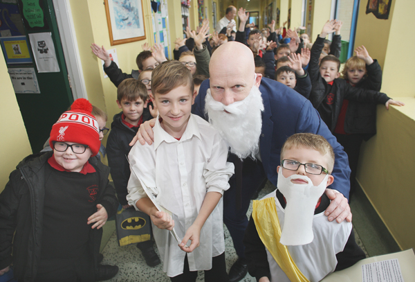 Plato Day at Holy Cross – James McAuley and Luke Quinn with Principal Kevin McArevey