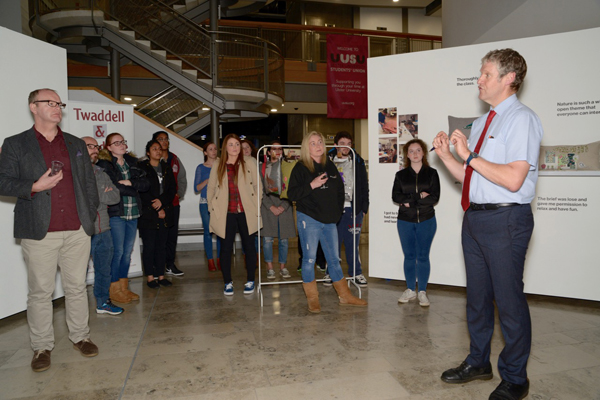 Ulster University Director of Engagement Dr Duncan Morrow launches the exhbition at the York Street campus