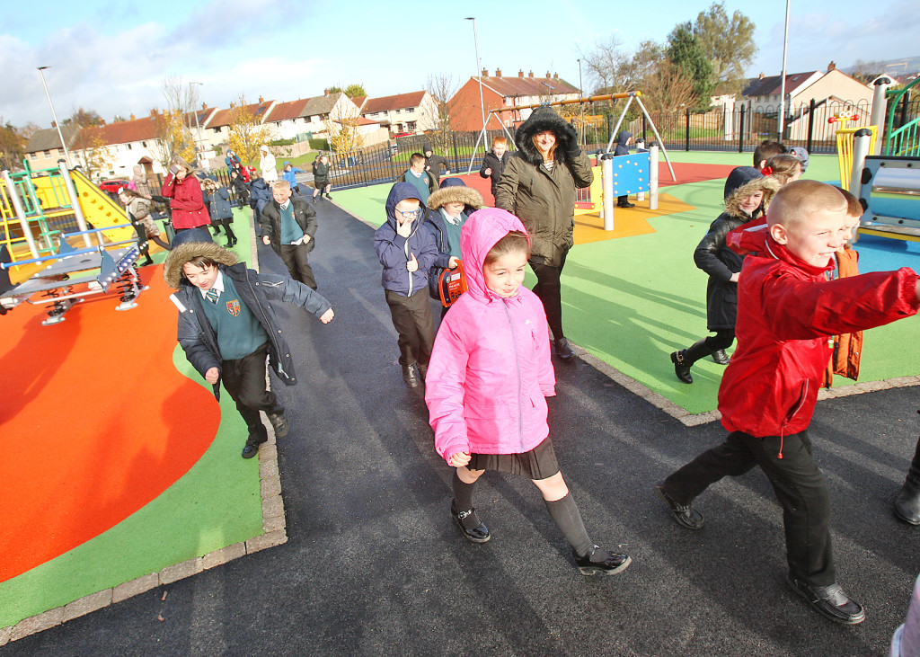 OPEN FOR ALL: Children enjoying the new playpark for the first time as it opened yesterday