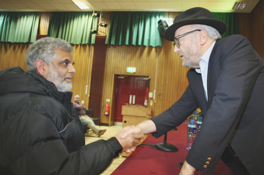 Mushtaq Ahmed meets George Galloway at the Respect Human Rights Film Festival screening of the documentary The Killings of Tony Blair in St Marys on the Falls Road