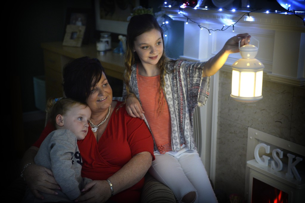 SHINING A LIGHT: Sharon with two of her grandchildren, Indi Maculey and Brooke McKee