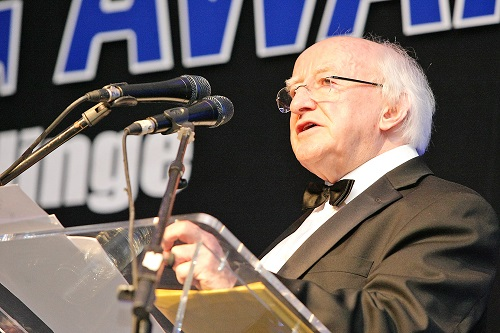 ALL-IRELAND VOTE: President Michael D Higgins speaking in Belfast