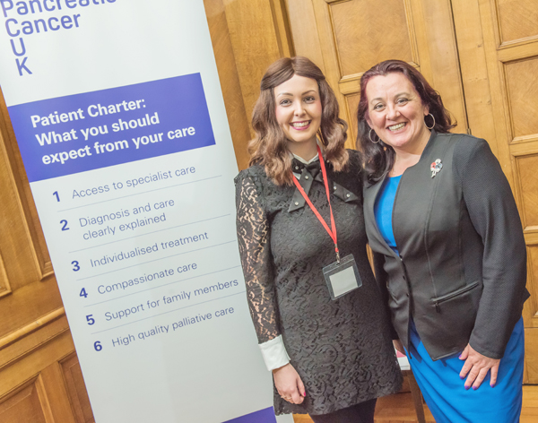 WARNING SIGNS: North Belfast DUP MLA Paula Bradley with Victoria Poole, a supporter of Pancreatic Cancer UK, at the Stormont event